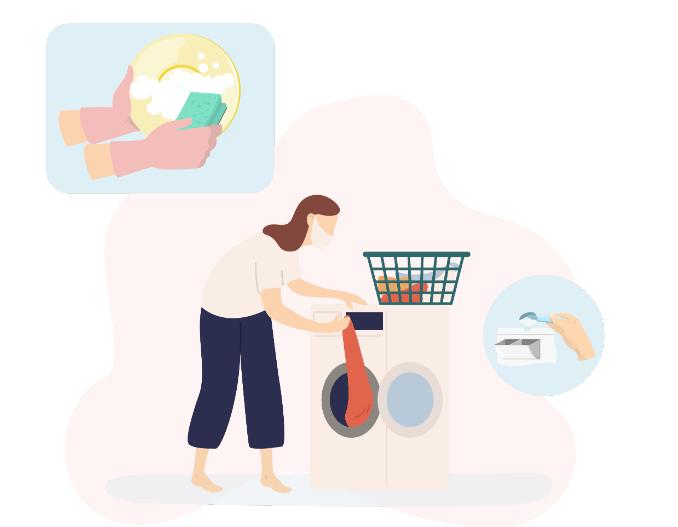 higienização de roupas, pratos e talheres