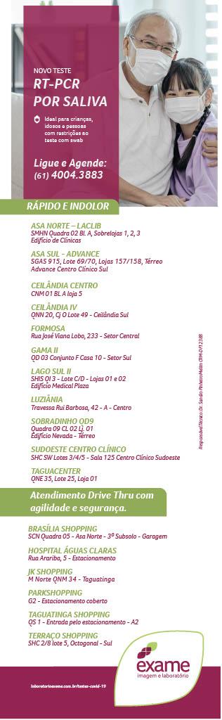 unidades exame pcr salivar